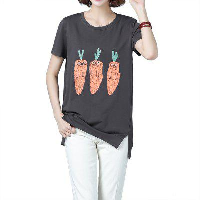 Summer New Cartoon Printing Round Neck Mid-Length Ladies Large Size T-Shirt