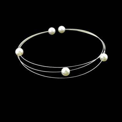 Gold Silver Color Chain Simulated-pearl Choker Necklace