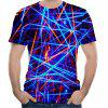 Creative Light Effect Chaotic 3D Printed Short-Sleeved T-shirt - MULTI