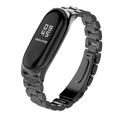 Three Beads Solid Replacement Steel Watch Strap for Xiaomi Mi Band 4