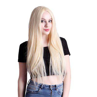 Sexy Lady Rice White Long Straight Hair High Temperature Synthetic Wig