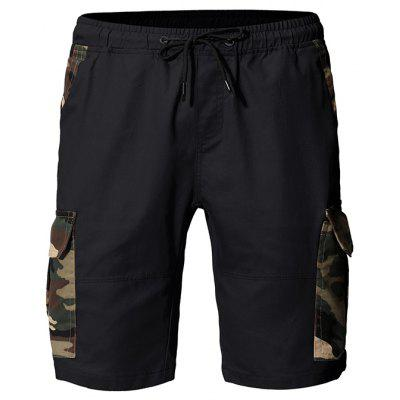 Men Fashion Camouflage Stitching Tether Belt Versatile Tooling Shorts