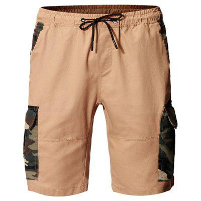 Men Fashion Camouflage Stitching Tether Belt Vielseitige Tooling Shorts