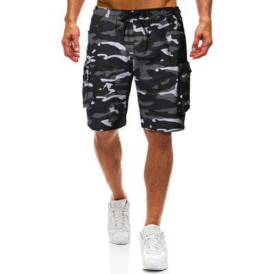 Men Fashion Pure Camouflage Tether Belt Casual Tooling Shorts