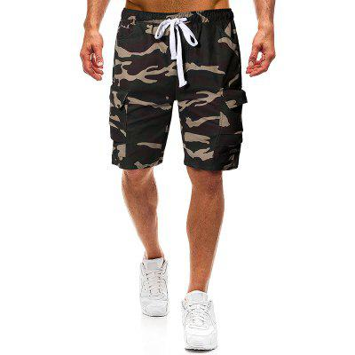 Men Fashion Camouflage Tooling Shorts Tether Belt Casual Five Pants