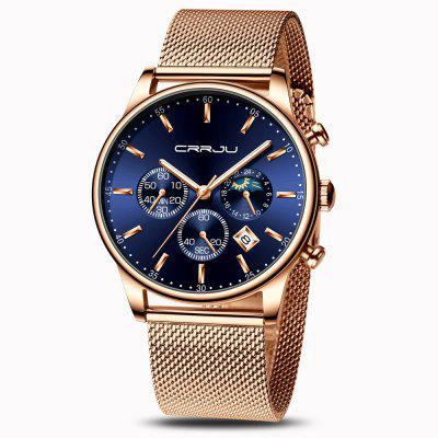 Fashion Three Eye Timing Date Steel Mesh with Waterproof Men'S Quartz Watch