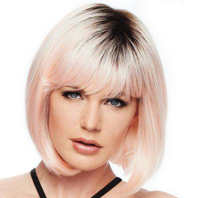 Colorful gradient ramp Neat Bang Bob Haircut Wig