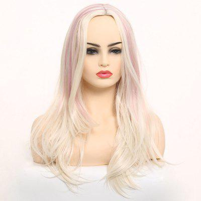 Central Parting Hair Style Highlights Long Wig