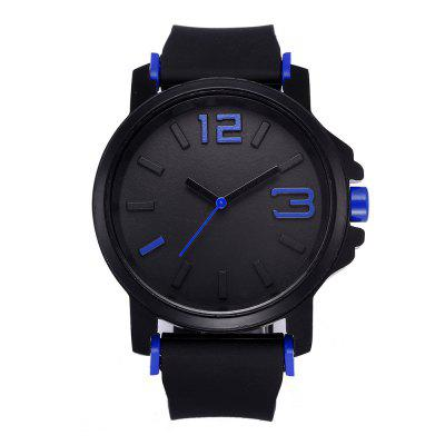 Men Fashion Casual Big Dial Rubber Quartz Watch