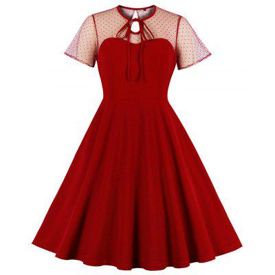 Plus Size Runde Kragen Knospe Seide aushöhlen Lace-Up Pure Color Sexy Kleid