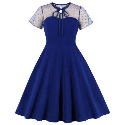 Plus Size Round Collar Bud Silk Hollow Out Lace-Up Pure Color Sexy Dress