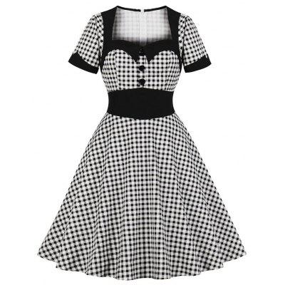 Mulheres Square Collar Buttons Grid Vestido Vintage