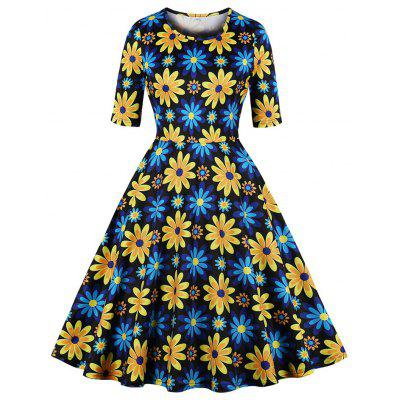 Round Collar Have Pockets Half Sleeve Printing Flowers Dress