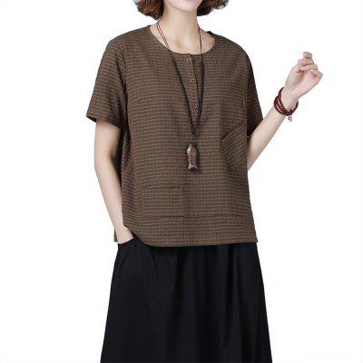Cotton and Linen Large Size Round Neck Ladies T-Shirt