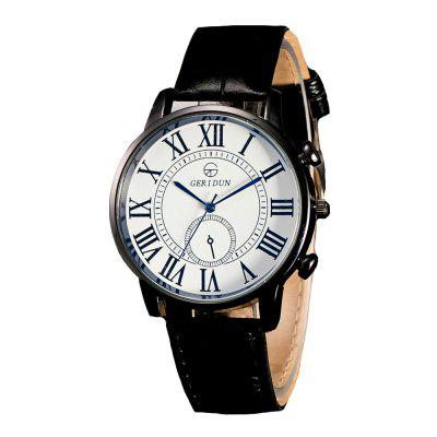 Geridun Men Moda Casual Leather Quartz Dress Watch
