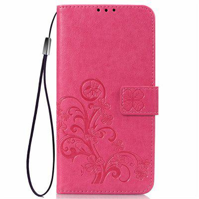 Four Leaf Clover Embossing Flower Leather Phone Case for Xiaomi Mi 8 Lite