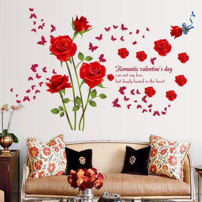 Romantic Red Rose Bedroom TV Background Decorative Wall Sticker