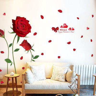 Romantic Red Rose Living Room Bedroom Home Decor Wall Sticker
