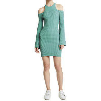Sexy Cutout Strapless Flare Sleeve Slim Fit Knit Dress