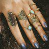 Bronze-Silver Bronze-Gold Blue-Silver Rings 8PCS/Set - MULTI-B