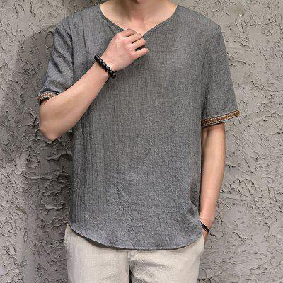 China Wind Pure V-collar Thin Cotton-linen Short-sleeved T-shirt