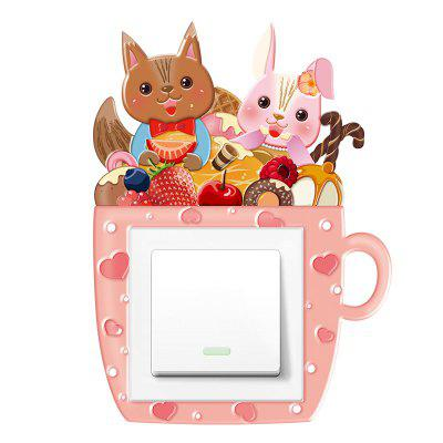 3D Cartoon Cute Squirrel Rabbit Light Switch Sticker Removable PVC Wall Sticker