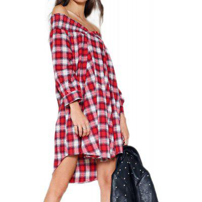 Lazy Style Sexy Word Shoulder Strap Loose Straight Shirt Dress