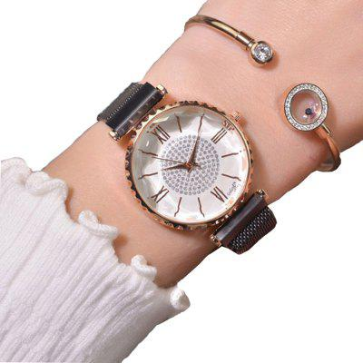 Women'S Casual Fashion Stainless Steel Mesh Quartz Dress Watch Set