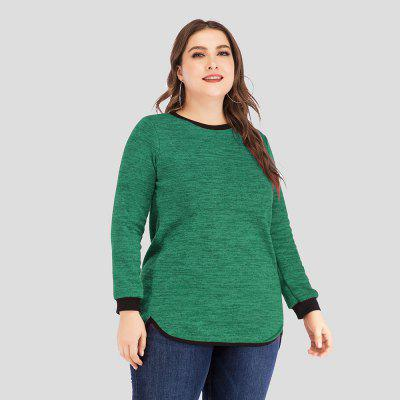 Tamanho Grande Mulher Fat Mm Solto Costura Casual Longo-Sleeved T-Shirt