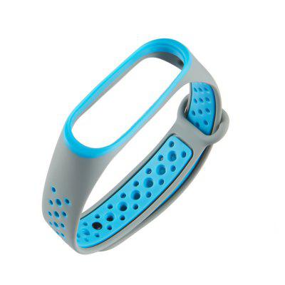 Double Color Round Hole Silicone Watch Strap for Xiaomi Mi Band 3 / 4