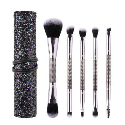 Sequin Zipper Cosmetic Bag with Double-Head Makeup Brushes 5PCS