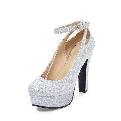 Fashion Round Toe Platform Glitter Buckle Strap Chunky Heels Lady Pumps