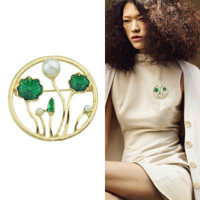 Green Lotus Leaf Shape Simulated-pearl Brooches