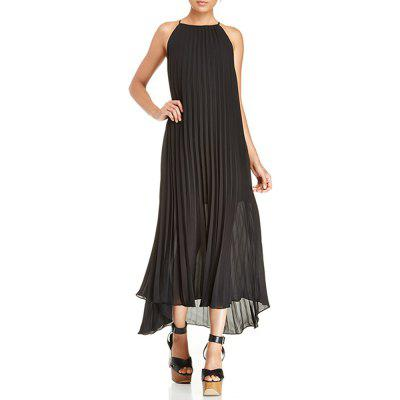 Fashion Boho Long Halter Pleated Chiffon Dress