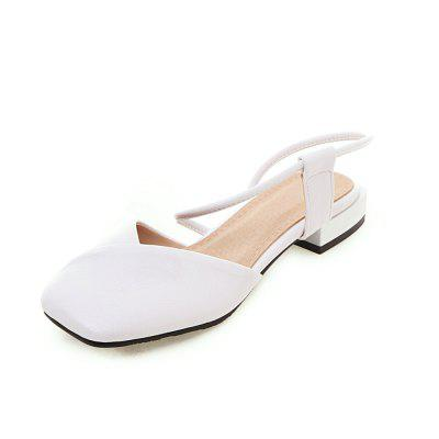 New Quare Toes Pure Color Foot Sleeve Low Heel Casual Lady Sandals
