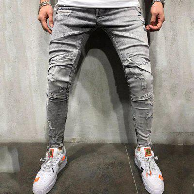 Men's Multi-Craft Washed Jeans Grey Trousers