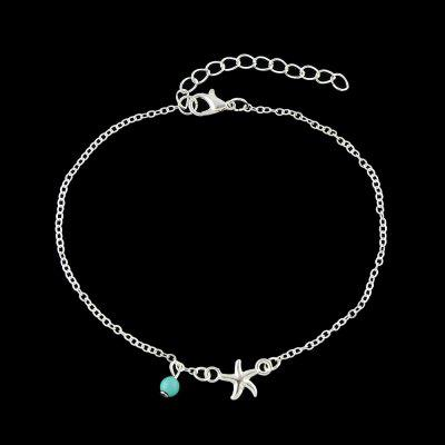 Bohemian Star Blue Beads Charm Anklet