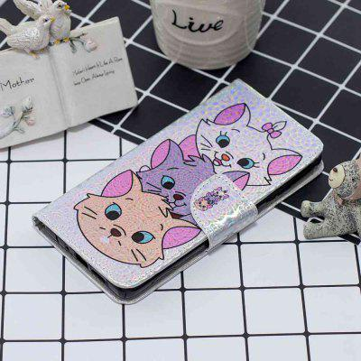 Three Cats Laser Colorful Phone Case for Huawei Y6 2018 / Honor 7A