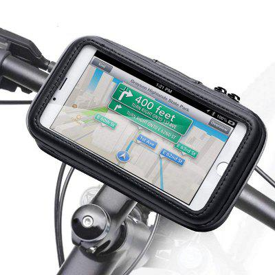 Motorcycle Handlebar Phone Holder Zipper Pocket Waterproof PU Leather Accessories