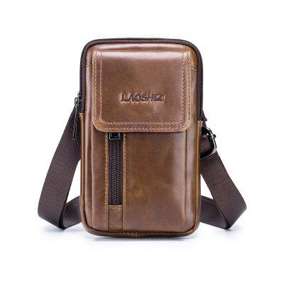 LAOSHIZILUOSEN Men's Leisure Hanging Bag Leather 5.5 Phone Bag