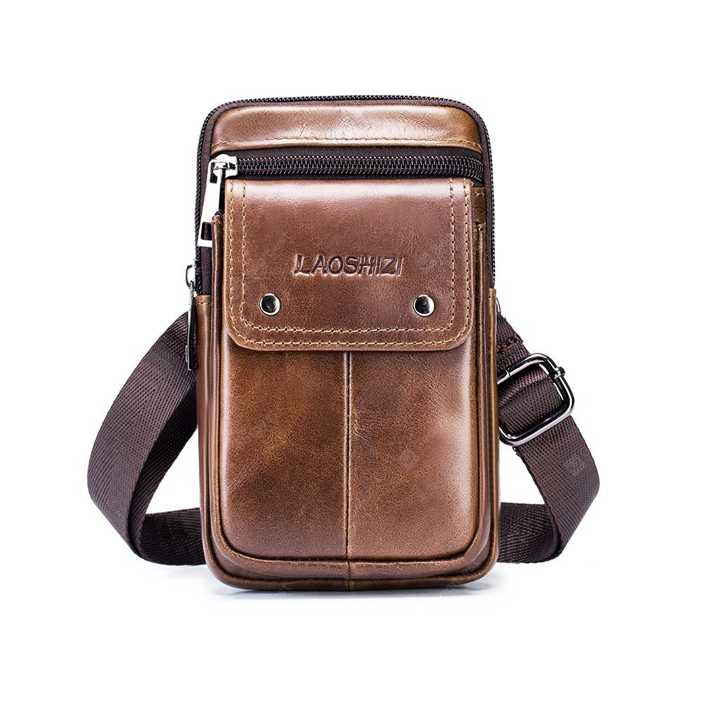 LAOSHIZILUOSEN Men Belt Bag Leisure Leather HandbagBrown