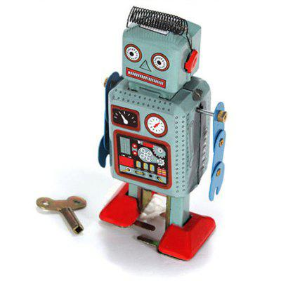 Vintage Nostalgic Wind Up Tin Clockwork Spring Iron Sheet Robot Reminiscence Toy