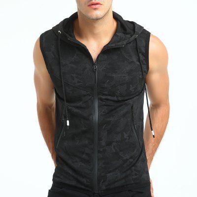 Men Foreign Trade Personality Camouflage Printed Sports Hooded Vest