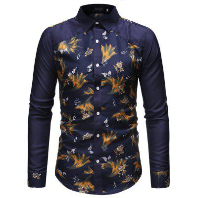 Men Fashion Business Stitching Long-Sleeved Casual Slim Shirt