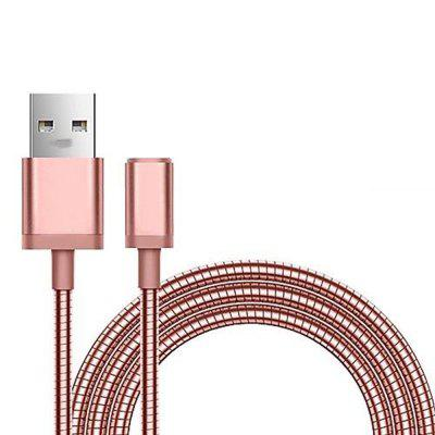 Portable Micro USB Cable Metal Spring Data Cable for Mobile Phone Charger