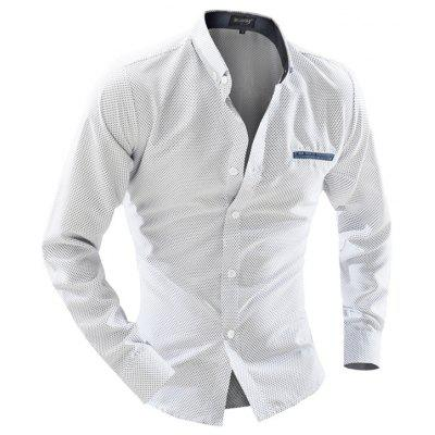 Foreign Trade Men Business Casual Dot Long-Sleeved Shirt