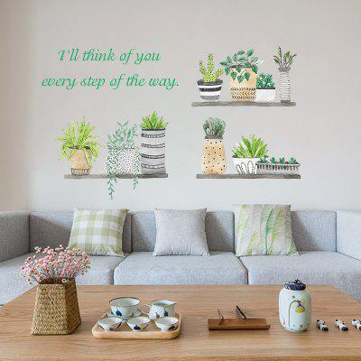 Nordic Style Fresh Plant Potted Bedroom Cabinet Decoration Wall Stickers