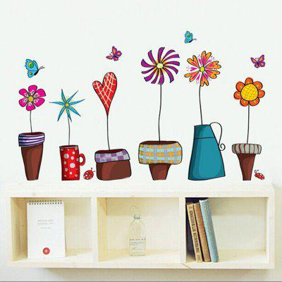 Fresh Potted Bedroom Living Room Sofa Background Wall Decoration Stickers