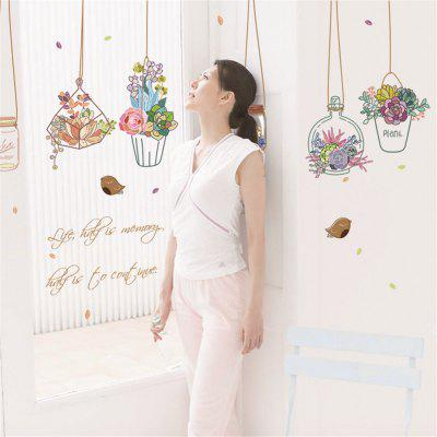 SK7057 New Hanging Bottle Beautiful Vase Decorative Wall Stickers