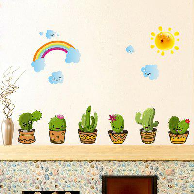 Cactus Potted Cute Plant Flower Stickers Wall Stickers